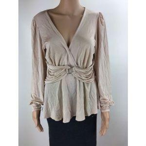 Bebe Womens Long Sleeve Top Shirt Pink Size M K306